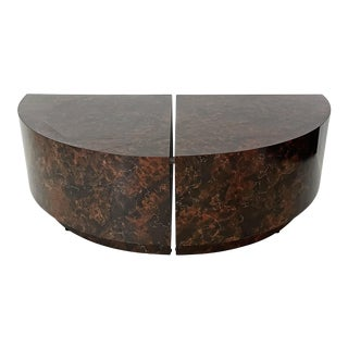 Vintage Pie Shaped Faux Stone Side Tables - a Pair For Sale