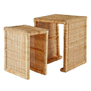 Selamat Designs Pamona Natural Rattan Nesting Tables- Set of 2