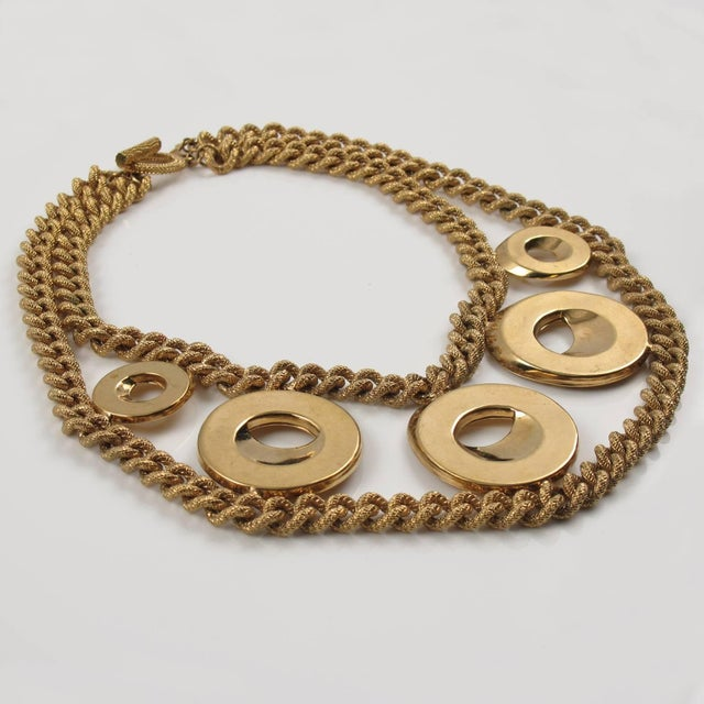 Julie Borgeaud for Imai Large Gilt Metal Geometric Choker Necklace For Sale - Image 4 of 10