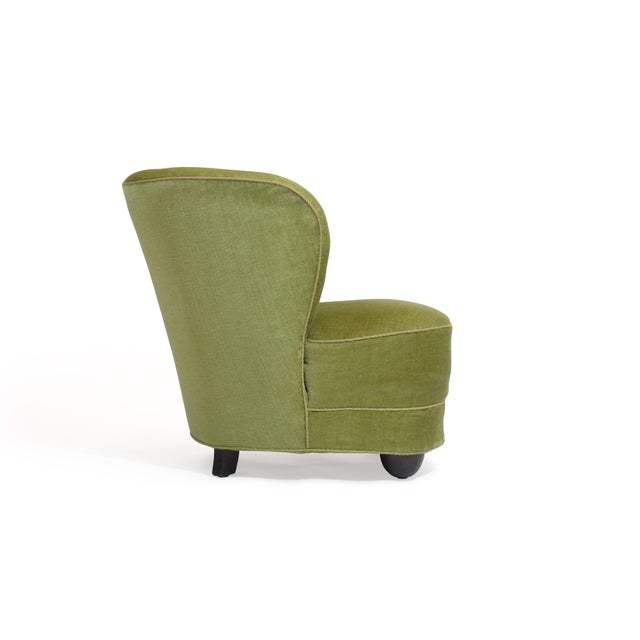 Danish Modern 1930s Danish Slipper Chair in Original Green Mohair For Sale - Image 3 of 11