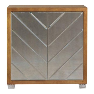 Contemporary Chevron Detailed Mirrored Cabinet
