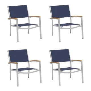 Outdoor Sling Lounge Chair, Natural and Ink (Set of 4) For Sale