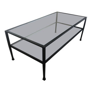 Tanner Metal & Glass Matte Iron-Bronze Finish Coffee Table For Sale