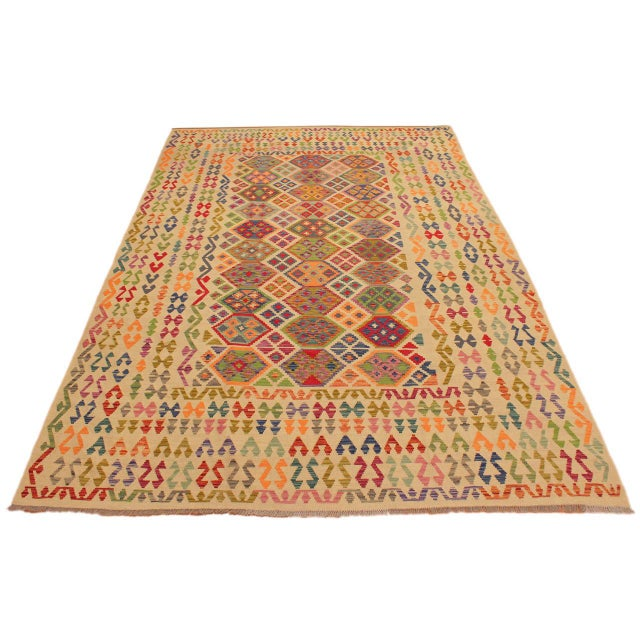 Eulah Ivory/Blue Hand-Woven Kilim Wool Rug -8'6 X 11'5 For Sale - Image 4 of 8