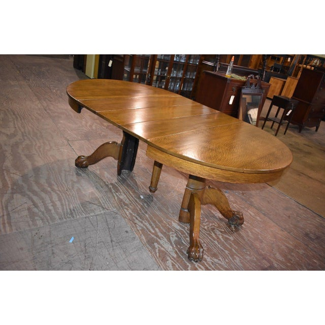 b6e2e9047d15 Antique Round Tiger Stripe Quarter Sawn Oak Dining Table For Sale - Image 4  of 8