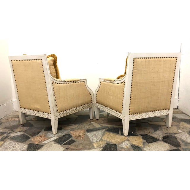 Boho Chic Oly Studio Tobias Upholstered in Raffia Chairs - a Pair For Sale - Image 3 of 9