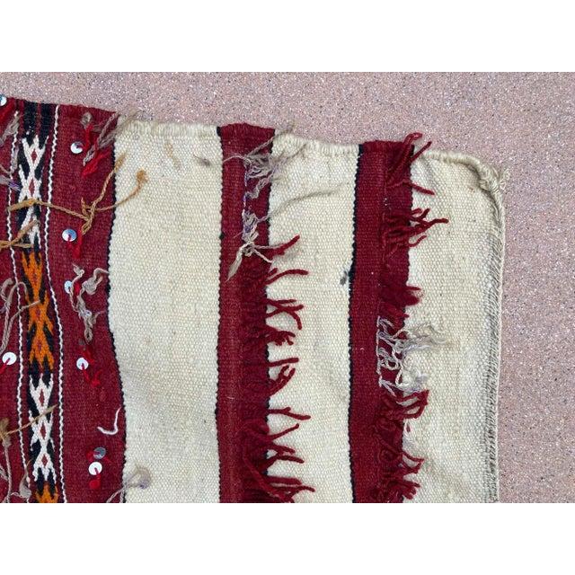 Berber Tribes of Morocco Moroccan Vintage Tribal Kilim Handira Rug, circa 1960 For Sale - Image 4 of 13