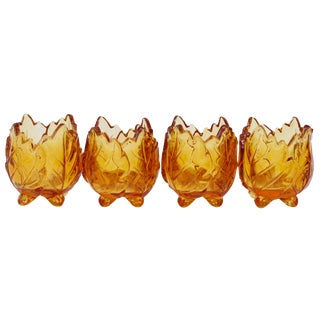 Amber Glass Tea Light Holders - Set of 4 For Sale