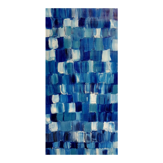 """Blue Thing"" Modern Geometric Crosshatch Painting - Image 1 of 5"