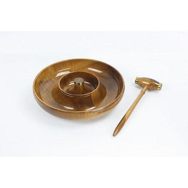 Mid-Century Mod Nut Cracker Bowl in Oregon Myrtle - Image 2 of 6