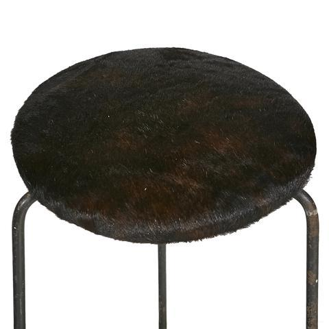 Wrought Iron & Cowhide Seat Stool - Image 3 of 4