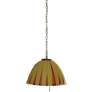 Mid-Century Modern Danish Metal & Teak Mushroom Chandelier Pendant Light Fixture For Sale