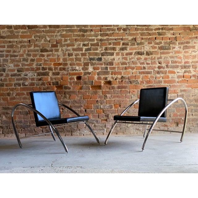 Moreno Chrome & Leather Lounge Chairs by Francois Scali & Alain Domingo for Nemo - A Pair For Sale - Image 6 of 12