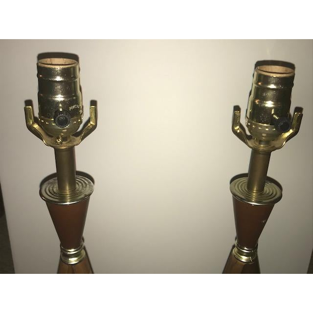 Mid-Century Modern Wood Table Lamps - A Pair For Sale In Washington DC - Image 6 of 7