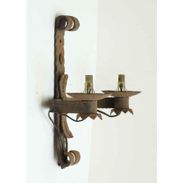 French Antique Wrought Iron Sconces - Set of 4 For Sale - Image 3 of 8
