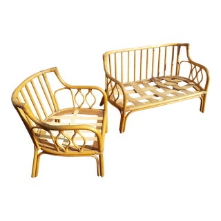 1950s Vintage Rattan Love Seat and Chair For Sale