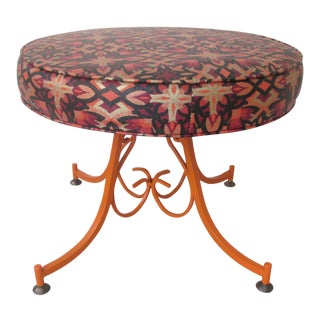 1960s Hollywood Regency Orange Steel Stool With Scrollwork Base For Sale