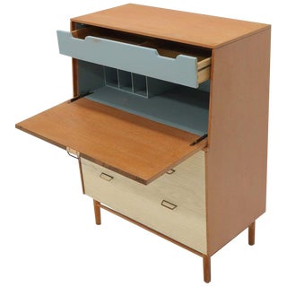 Cerused Oak Drop Front Secretary on Dowel Legs by Mengel For Sale