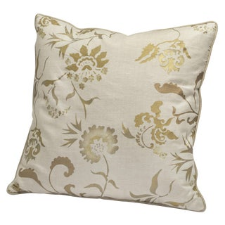 """Eden"" Golden Metallic Hand Printed Decorative Pillow"