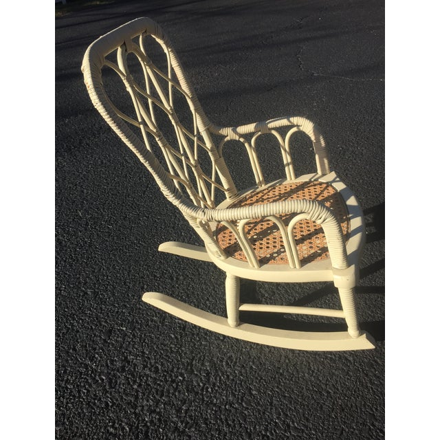 Antique Victorian Wicker Childs Rocking Chair For Sale - Image 6 of 9