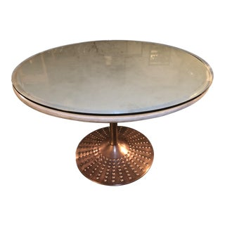 Modern Round Beveled Marble Pedestal Table W/ Riveted Copper Base