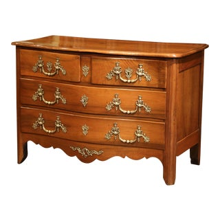 18th Century French Louis XIV Carved Walnut Commode Chest With Bronze Hardware
