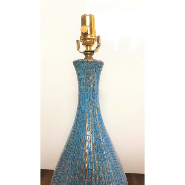 Unique and rare Bitossi teal lamp. Perfect for a contemporary interior.