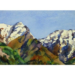 Vintage French Watercolor - Where the Mountains Meet For Sale