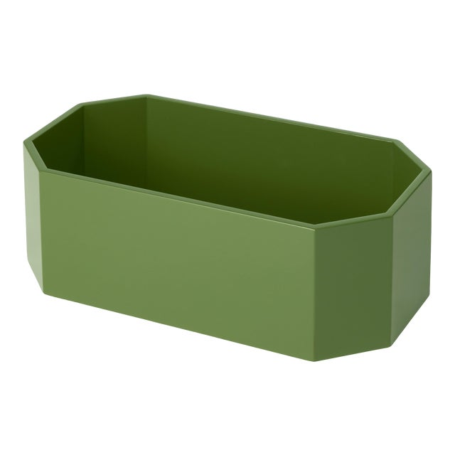 Miles Redd Collection Octagonal Napkin Box in Lettuce Green For Sale