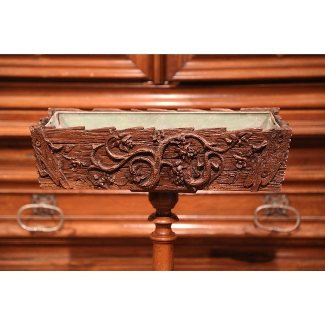 19th Century French Carved Walnut Black Forest Pedestal Jardiniere With Liner For Sale - Image 9 of 11