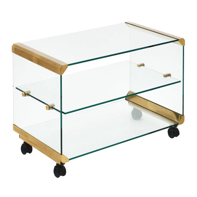 Modernist Glass and Brass Side Table For Sale - Image 10 of 10