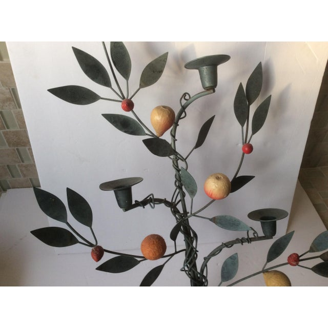 Painted Tole Candle Wall Sconce With Fruits - Image 6 of 11