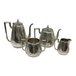 1870 England James Dixon Victorian English Silver Plated Four Pieces Tea Set For Sale
