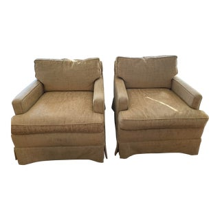 Vintage Mid-Century Modern Gold Chenille Club Chairs- a Pair For Sale