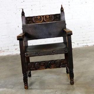 Spanish Hacienda Style Arm Chair Hand Carved Leather Artes De Mexico Internacionales Preview