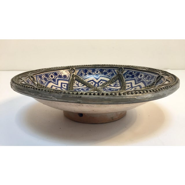 Ceramic Decorative Moroccan Blue and White Handcrafted Ceramic Bowl From Fez For Sale - Image 7 of 12