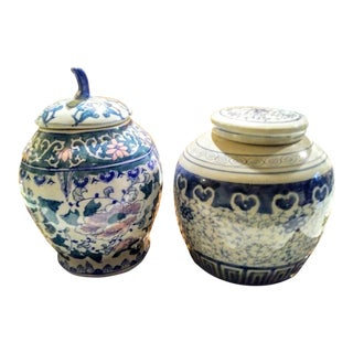 2 Vintage Blue and White Ceramic Chinoiserie Ginger Jars For Sale