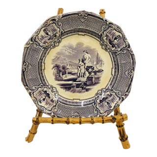 Antique Lavender Staffordshire Plate For Sale
