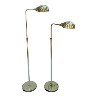 Mid-Century Brass Clam Shell Adjustable Pharmacy Lamps - a Pair For Sale
