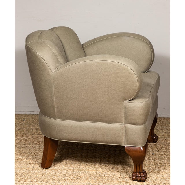 Pat McGann Linen Upholstered Bear-Claw Chair For Sale In Los Angeles - Image 6 of 8