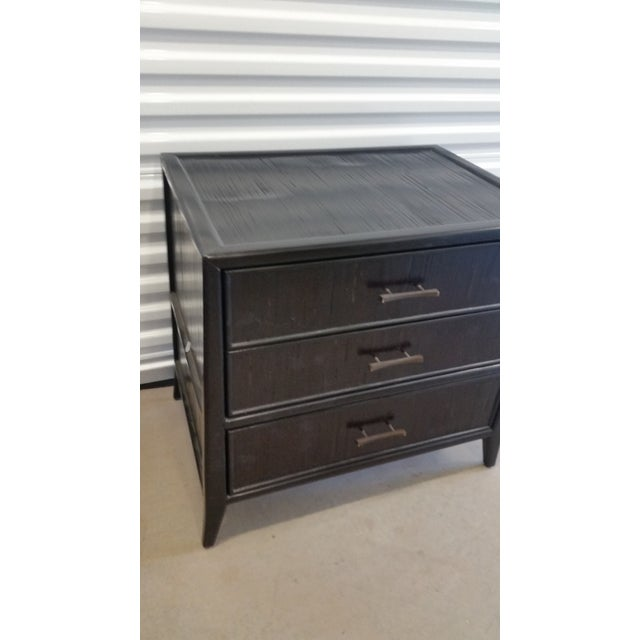 English Bamboo & Mahogany Marin 3-Drawer Nightstand Brownstone Furniture Co. For Sale - Image 3 of 8