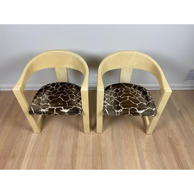 1980s Karl Springer Onassis Goatskin Chairs - a Pair For Sale - Image 5 of 6