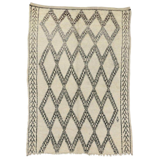 20th Century Moroccan Berber Beni Ourain Diamond Patterned Rug For Sale