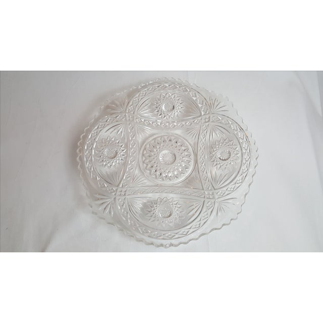 Traditional Shallow Patterned Glass Bowl/Platter For Sale - Image 3 of 4