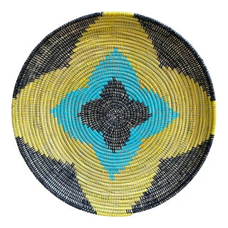 Multi Colored African Woven Tray or Basket For Sale
