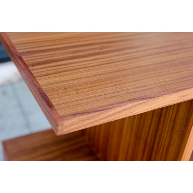 Wood Mid-Century Modern Brown Walnut Deep Zig-Zag Bookcase For Sale - Image 7 of 11