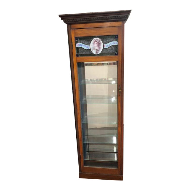 Antique Perfume Cabinet with Stained & Leaded Glass Top For Sale