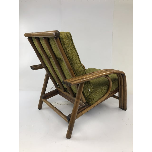 Green Mid Century Boho Chic Bamboo Lounge Chair With Green Upholstery For Sale - Image 8 of 13