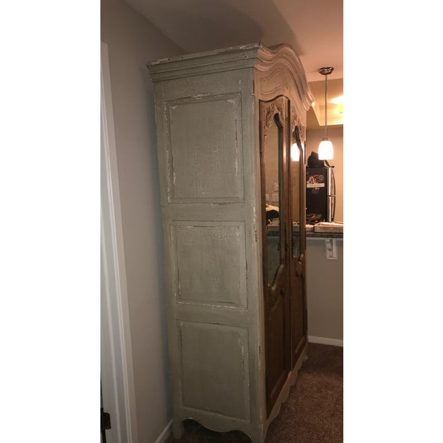 English Traditional Acid Wash Mirrored Armoire For Sale - Image 3 of 12