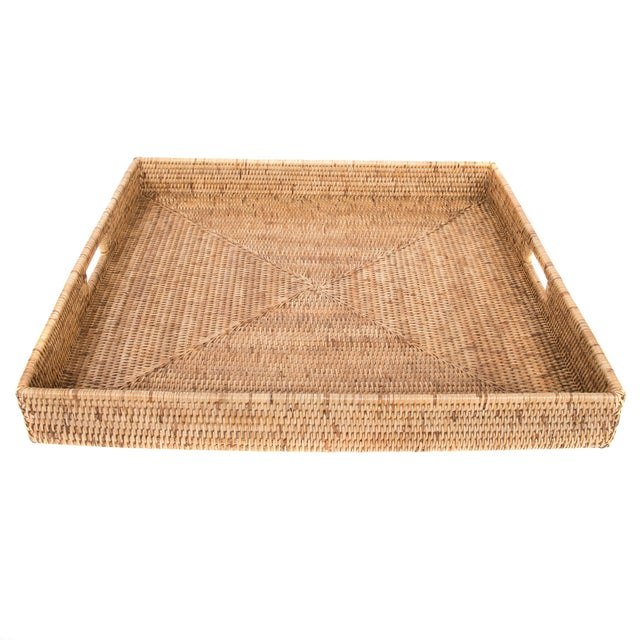 Boho Chic Artifacts Rattan Square Tray For Sale - Image 3 of 3